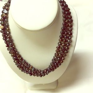 Jewelry - Peacock pearls -three strand necklace